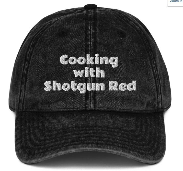 Vintage Cotton Twill Cap -Cooking with Shotgun Red  - Black