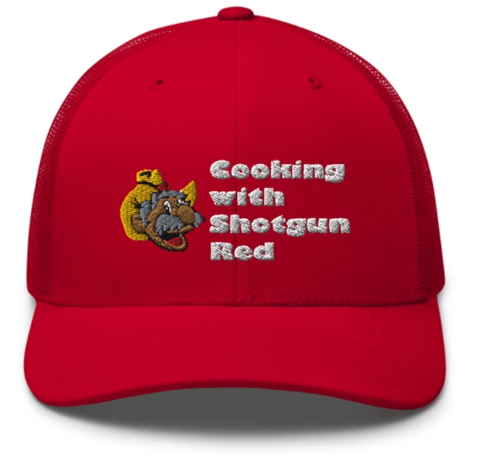 Cooking with Shotgun Red Hat with Logo - Red