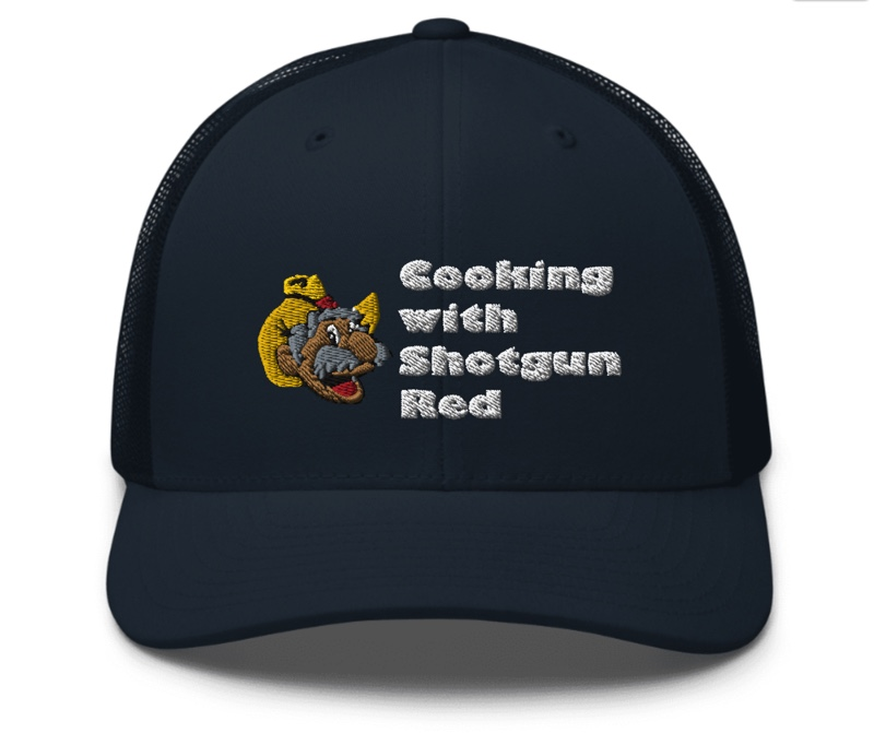 Cooking with Shotgun Red Hat with Logo - Navy