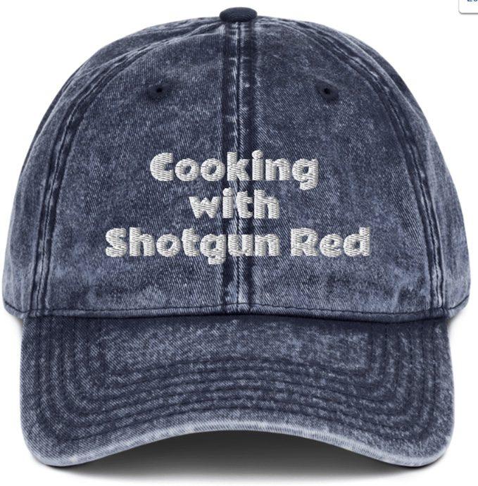 Vintage Cotton Twill Cap -Cooking with Shotgun Red  -  Navy