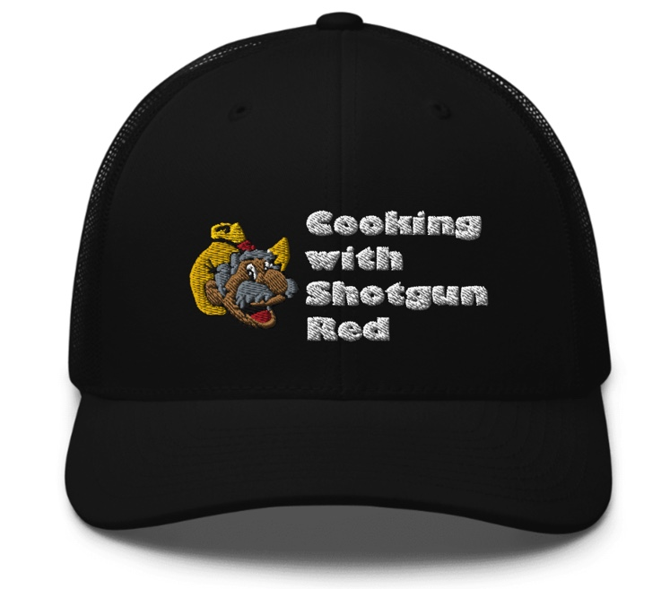 Cooking with Shotgun Red Hat with Logo - Black